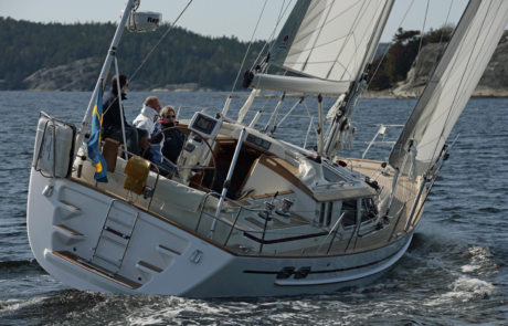 Regina 40, New Boat Test, Sailing on a sunny day off the Swedish island of Orust